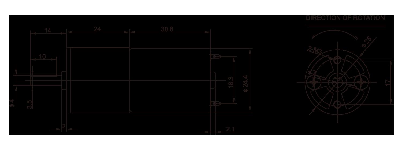 ギアボックスモーター_25JZG2431_Outline-drawing